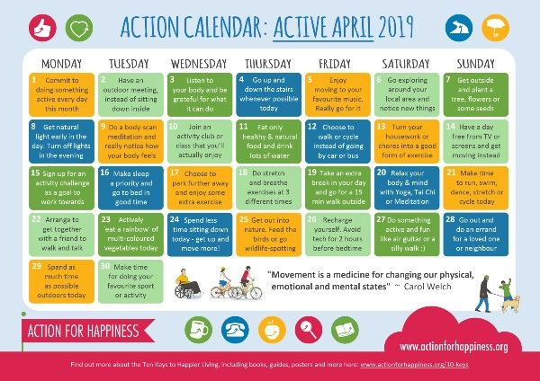 Active April Action Calendar: 30 days of challenges contributing to your self-care