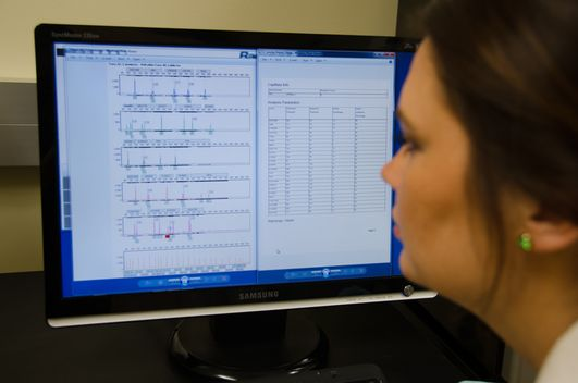 An image of a student observing DNA Markers on a computer screen.
