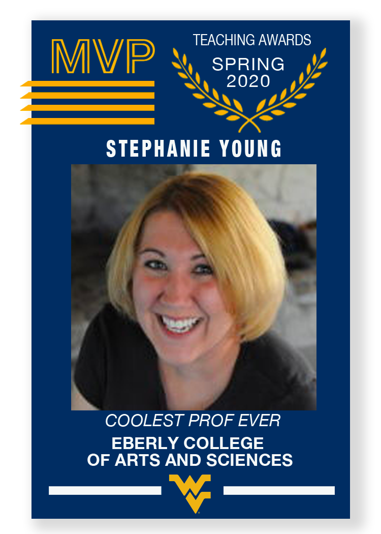 Baseball style MVP card of Stephanie Young
