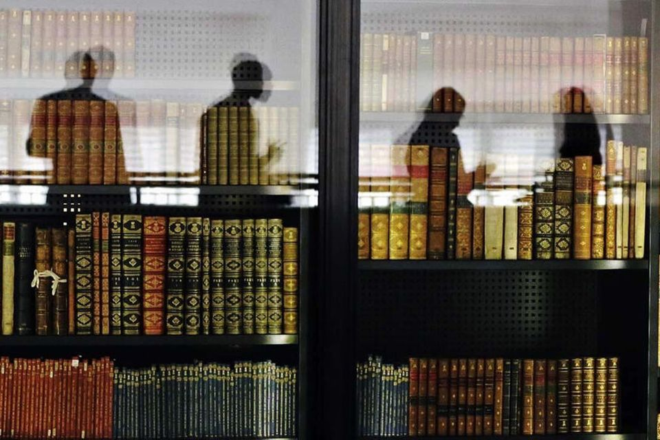 bookcase with reflection of students