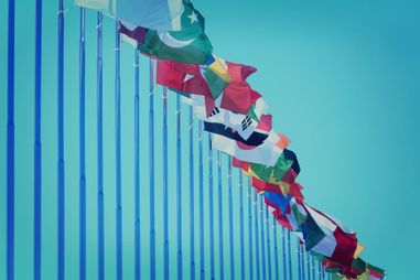 International flags on blue ski