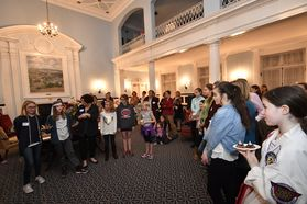 Girls from the Morgantown community speak out at an event hosted by Provost McConnell and the Women's Leadership Initiative of WVU.
