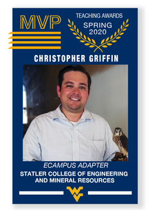 Baseball style MVP card of Christopher Griffin