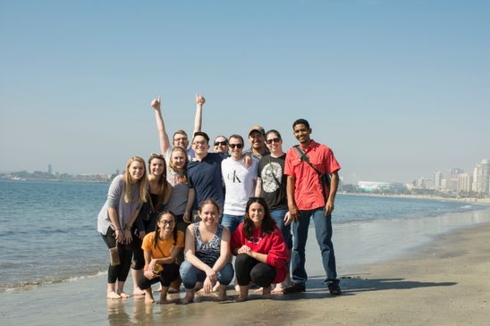 FIS Students enjoying the CA beach