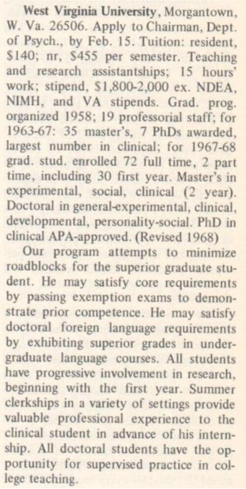 Graduate Study in Psychology 1969