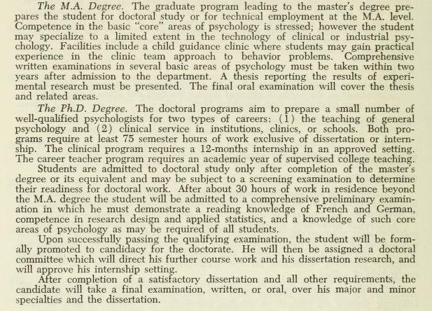 1963 Description of the doctoral program
