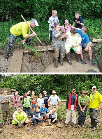 (Top) Dr. Jim Anderson with students and SOL School teacher Hannah Spencer. (Bottom) Dr. Jim Anderson and Dr. Brian Lemme with Mountain SOL students, teacher and parent volunteers.
