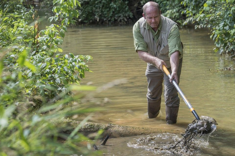 Jason Hubbart, director of the WVU Institute of Water Security and Science, conducts water testing at West Run Creek for research. (WVU Photo/Greg Ellis)