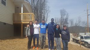 WVU Tech volunteers spent time landscaping at a Habitat for Humanity build site in Charleston