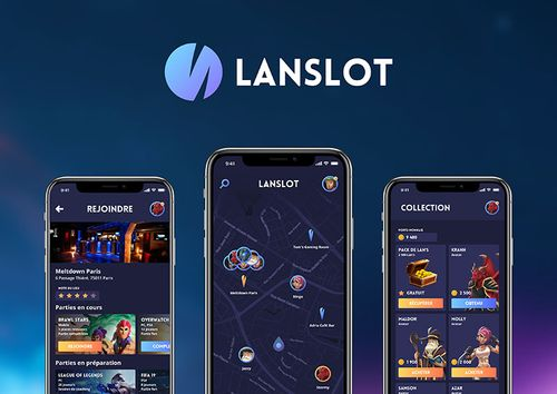 A graphic showing the Lanslot app open on a mobile phone.