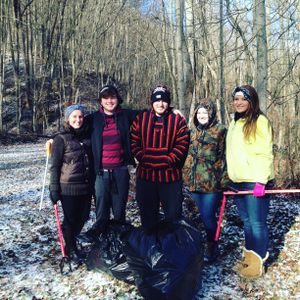 Five WVU Tech students braved the chilly weather to help clean up at Morris Creek.