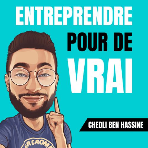 "An illustration of WVU Tech grad Chedli Ben Hassine with the text ""Entreprende pour de vrai"""