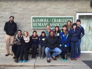 A group of 11 Tech students and one staffer volunteered at the Kanawha-Charleston Humane Association shelter on MLK Day of Service.