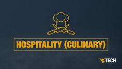 "A graphic depicting a chef's hat with two knifes and the text ""Hospitality (Culinary)"""