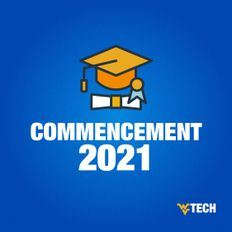 "A gold graduation cap and a rolled diploma over the words ""Commencement 2021"""