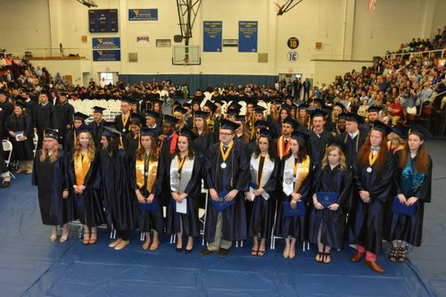 Graduates of the class of 2017 stand during WVU Tech's 118th commencement cermony