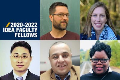 An image showing the faces of five newly-appointed IDEA Faculty Fellows