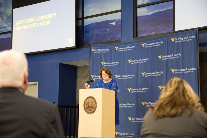 WVU Tech Campus President speaks from a podium during 2019 State of Tech Address