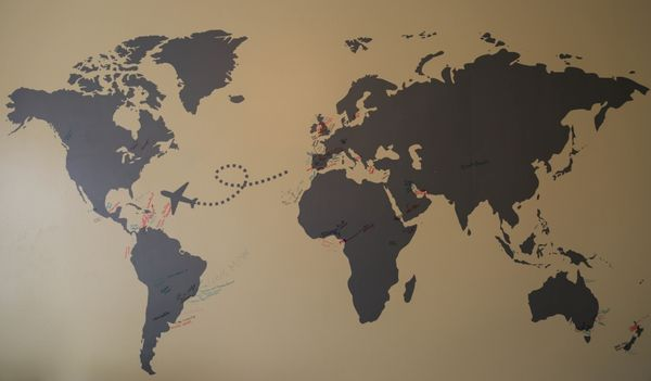 The international student wall in the WVU Tech Admissions House