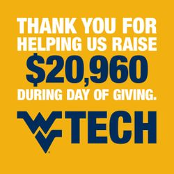 "A thank you graphic that reads ""Thank you for helping us raise $20,960 during Day of Giving"""