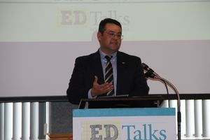 Tim O'Neal, '97, addresses attendees at EdTalks Beckley on Thursday, May 19.