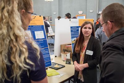 WVU Tech student Alexis Branch discusses her research at the Design Expo.