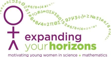 The Expanding Your Horizons logo, which features the universal female symbol as the top of a stick figure, her flowing hair made of numbers and mathematics symbols.