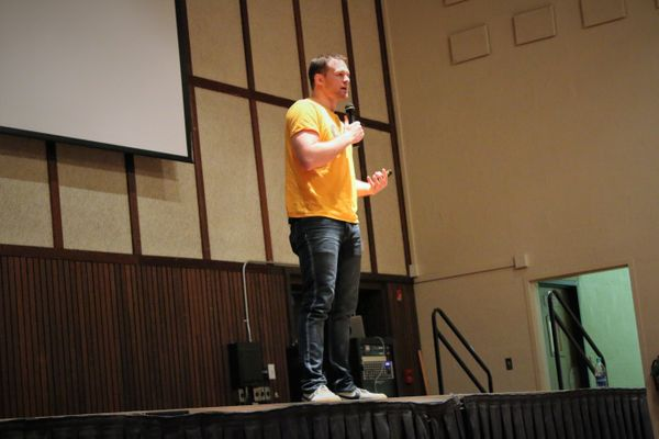 Athlete Ally Founder Hudson Taylor visits WVU Tech's Montgomery campus.