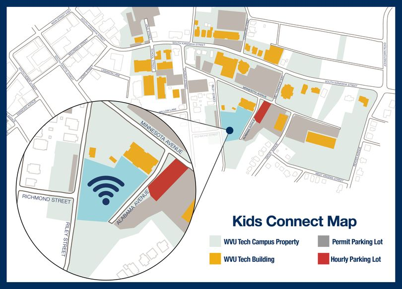 A map of campus with the Kid Connect wifi hotspot coverage zone highlighted.