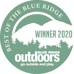 "Blue Ride Outdoors Magazine ""Best of the Blue Ridge"" badge."