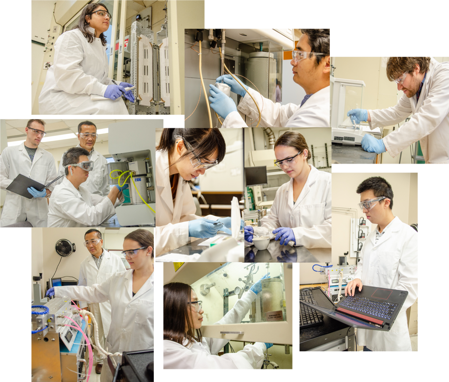 Collage of photos showing grad students doing research in a lab