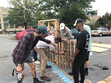 WVU landscape architecture students preparing for PARK(ing) Day 2018