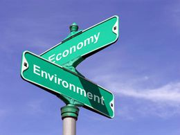 Road signs saying economy and environment