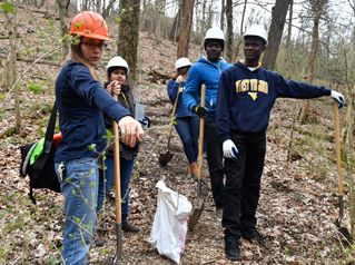 students working on a trail in the woods