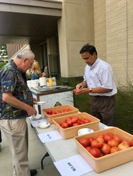 Mahfuz Rahman, left, slices a tomato so guests can do some taste testing.