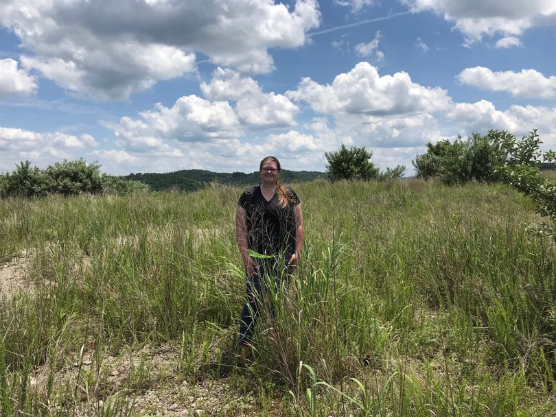 WVU graduate student Brianna Mayfield stands in a field of switchgrass on reclaimed mine land.