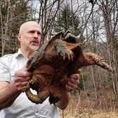 Jim holding a snapping turtle