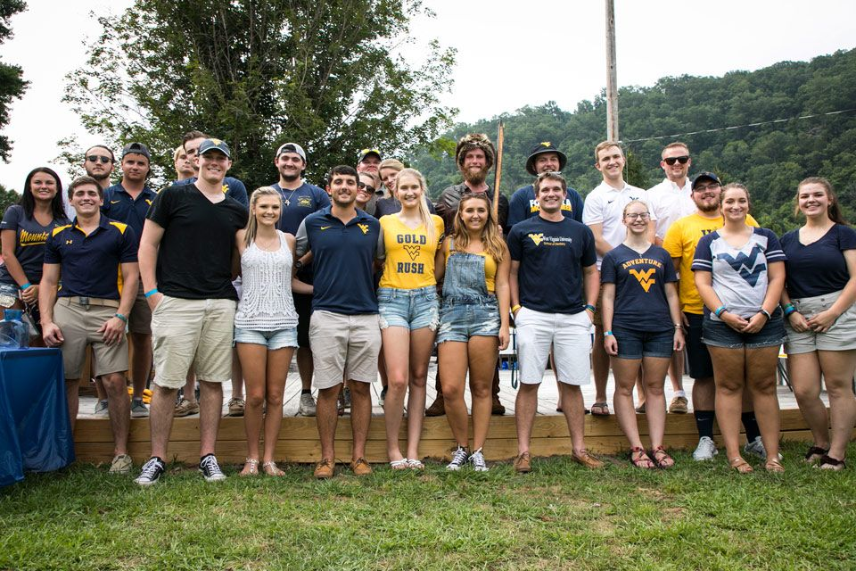 Boone County scholarship recipients posing for a picture with the Mountaineer