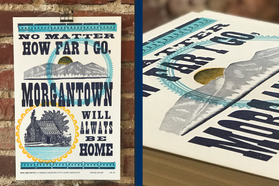 Two views of the WVU Alumni/Base Camp Printing Co/GramLee Collection exclusive letterpress print