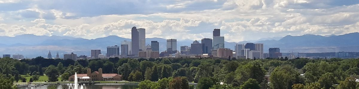 The Denver city skyline.