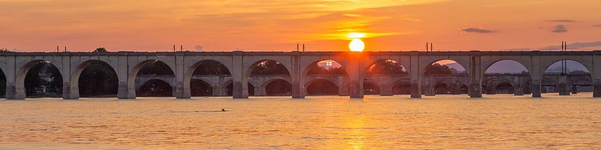 River and a bridge in Harrisburg, Pennsylvania at sunset.