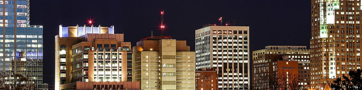 The Raleigh city skyline at night.
