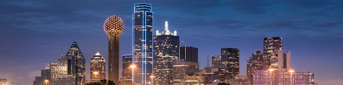 The Dallas skyline just after sunset.