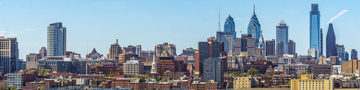 The Philadelphia city skyline during the day.