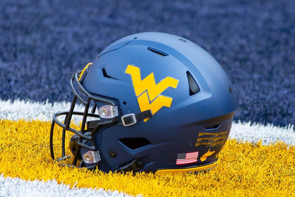 A WVU Football helmet in the in-zone