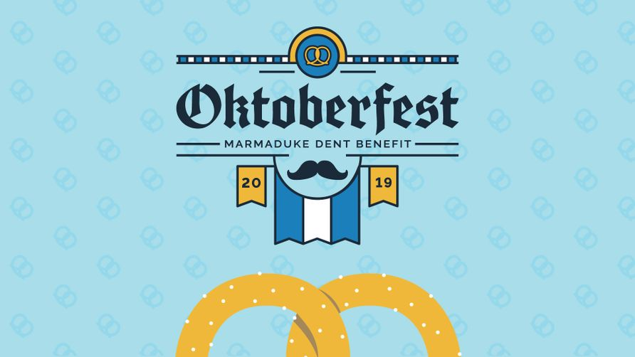 A graphic of the event logo and the top half of a Bavarian pretzel against a light blue background featuring the text: Oktoberfest - Marmaduke Dent Benefit 2019