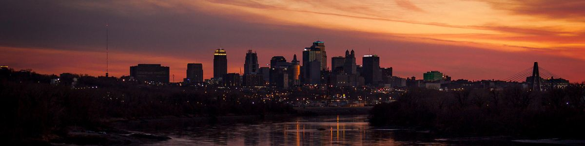 Kansas City skyline at sunset.