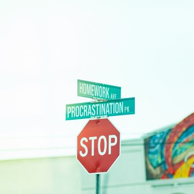 Stop sign at intersection of Homework Avenue and Procrastination Park