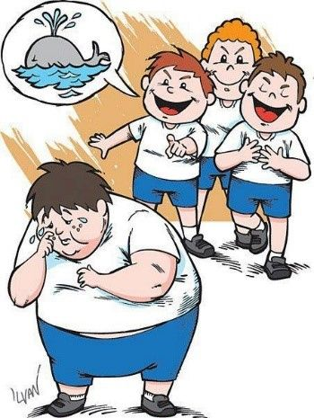 Cartoon depicting three boys taunting a larger boy by calling him a whale
