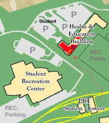We are located on the Evansdale campus across from the Student Recreation Center.